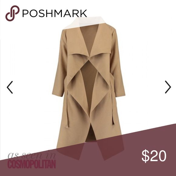 CAMEL WATERFALL COAT M/L Brand new, never worn, bought online from a UK store Price- Firm. Zara Jackets & Coats Trench Coats