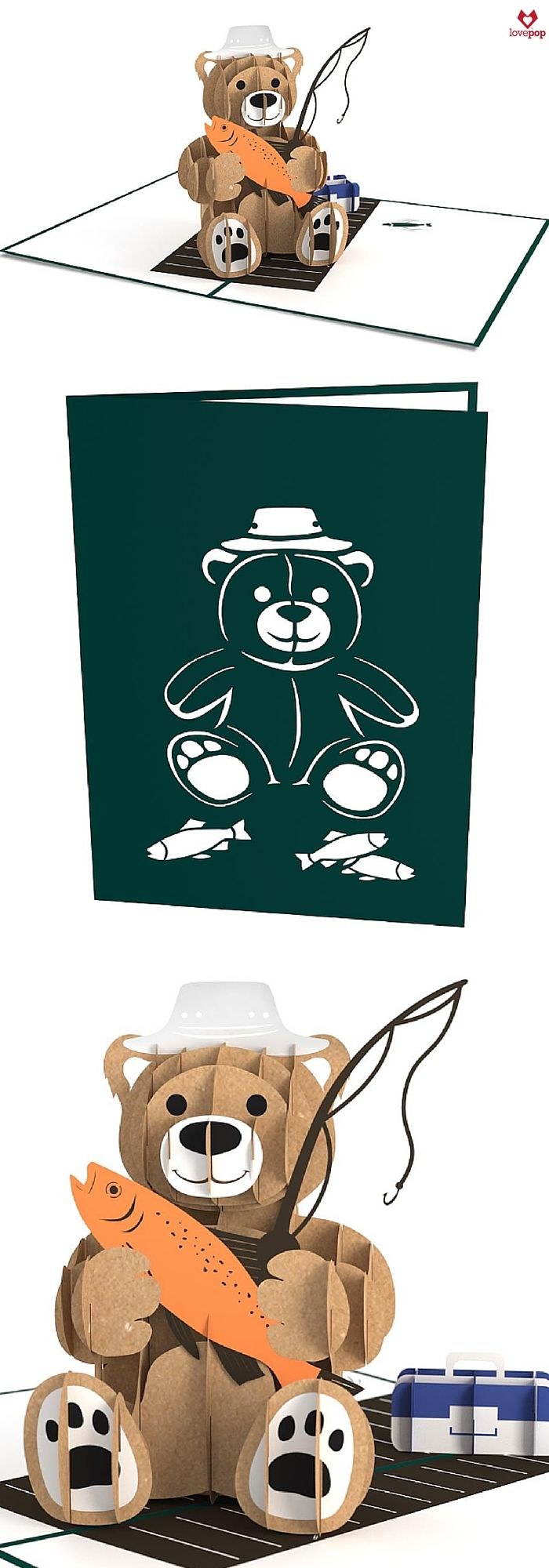 Surprise Dad with a pop up fishing card. This paper art bear has already caught a few fish and is all set to keep casting. #HappyFathersDay