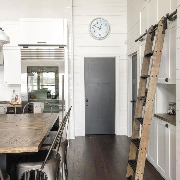 This library ladder is both practical and fun in this classic looking  kitchen with shiplap siding373 best Kitchen Remodeling Ideas images on Pinterest   Remodeling  . Farmhouse Kitchen Remodeling Ideas. Home Design Ideas