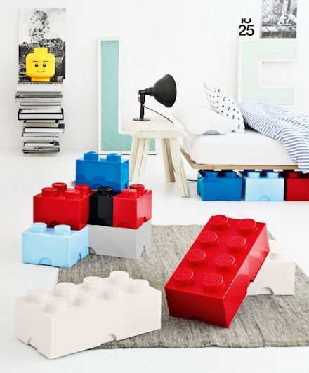 Jumbo storage legos! Getting these for Diego's room and storing them under his bed, just like this picture. Totally functional and cool looking.