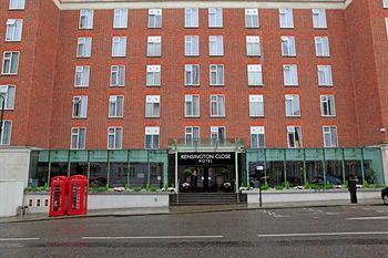 """The Kensington Close hotel - London. Fabulous lobby but get into your room and you see why it is named Kensington """"Close"""" Hotel. It is Europe."""