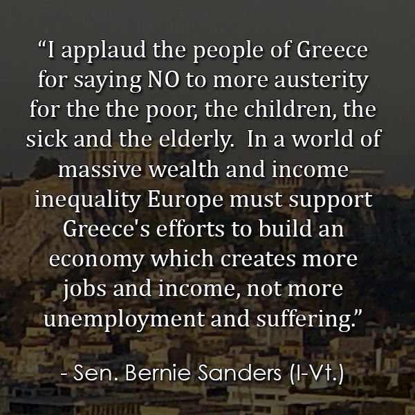 Bernie Sanders gets it.  Austerity = cruelty.