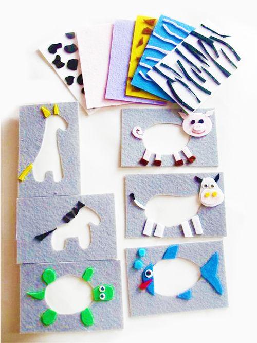 """Развивающие игрушки из фетра своими руками для детей, игра """"Подбери зверю одежку"""""""