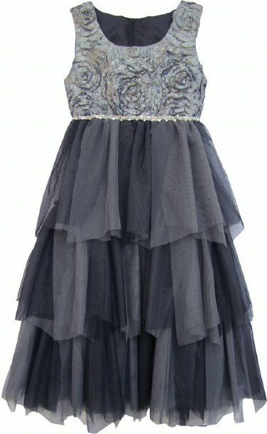 Stunning in Silver Tween Dress  7 to 14 Years at www.cassiesclosetinc.com