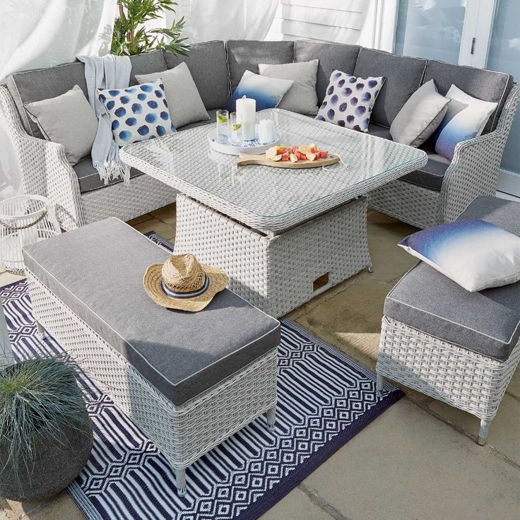 Ascot Curved Casual Lounge Dining Rattan Garden Furniture Set With Adjustable Ta Adj Rattan Garden Furniture Sets Rattan Garden Furniture Garden Furniture