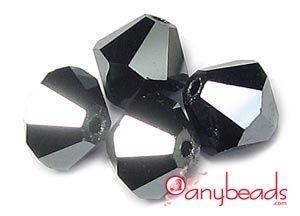 Jet Hematite 2X - Swarovski Crystal 5301/5328 Xilion Bead Bicones 6mm  #hematite #Swarovski #5301 #5328 #bicone #jewelrysupplies #beads #crystalbeads #anybeads