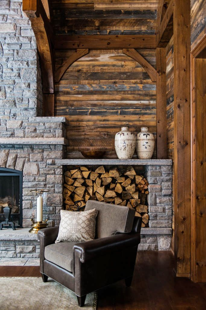 25 best ideas about stacked stones on pinterest stacked for Lodge style fireplace ideas
