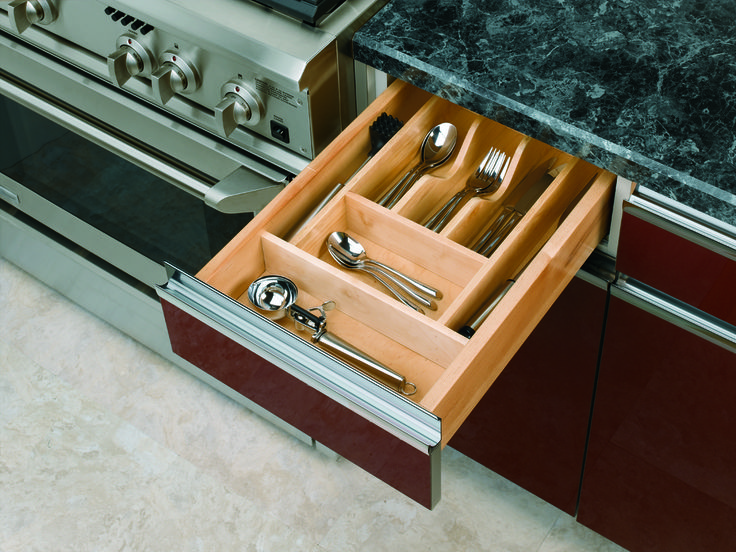 Organize kitchen drawers with Rev-A-Shelf's Wood Cutlery Tray Insert. The WCT Series is made of our classic maple hardwood with a UV-cured clear finish to ensure an acceptable match to any kitchen cabinet. This modern day clutter solution requires a simple drop-in installation with two sizes that may be trimmed to fit various drawer sizes.