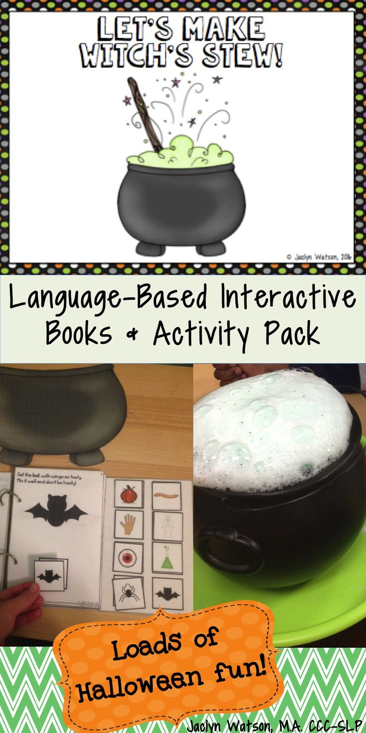 This halloween language activity pack is great for targeting vocabulary, following directions, and turn-taking. Use interactive book individually or mini-books with small groups and exciting sensory activity!