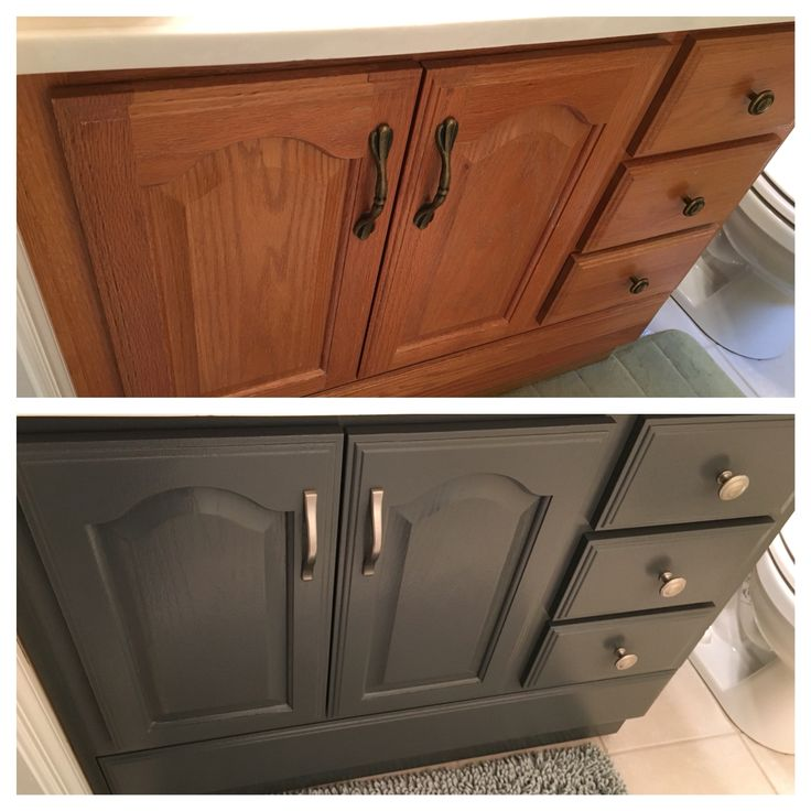 Sherwin Williams Peppercorn - before and after vanity cabinet
