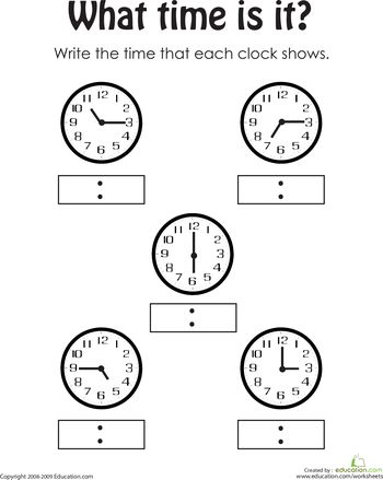 Telling the Time 2 First grade math worksheets, 1st