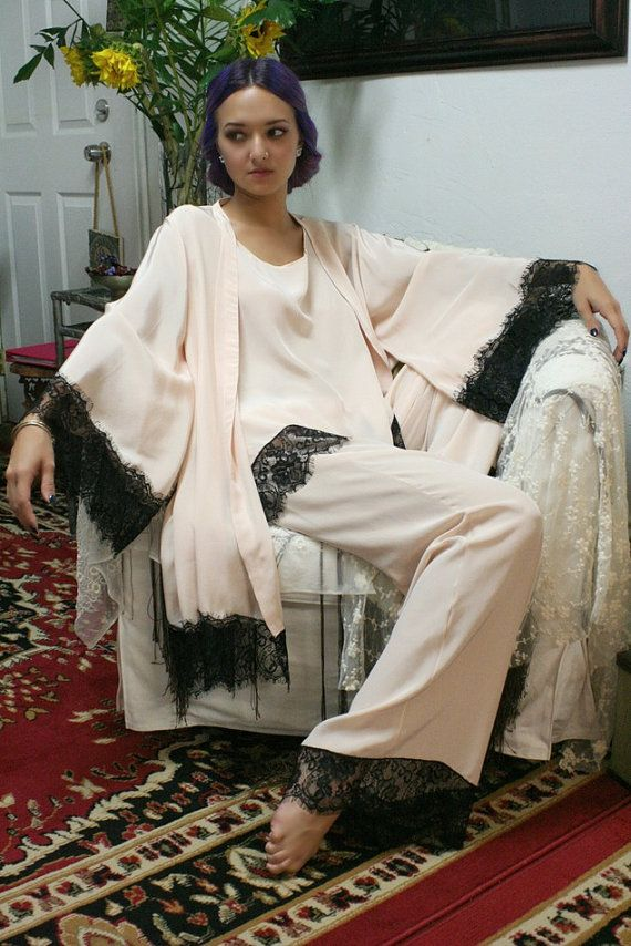 Blush silk pajamas.  20s flapper, Great Gatsby, Old Hollywood glam, all eras of flamboyance, risque behavior and starlit romance. Our 2015