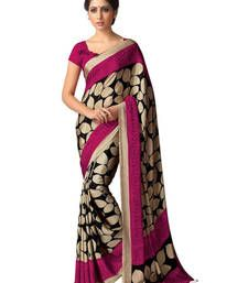 Buy Beige and Pink printed silk saree with blouse art-silk-saree online