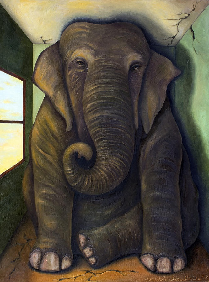 Elephant In The Room Painting by Leah Saulnier The Painting Maniac - Elephant In The Room Fine Art Prints and Posters for Sale