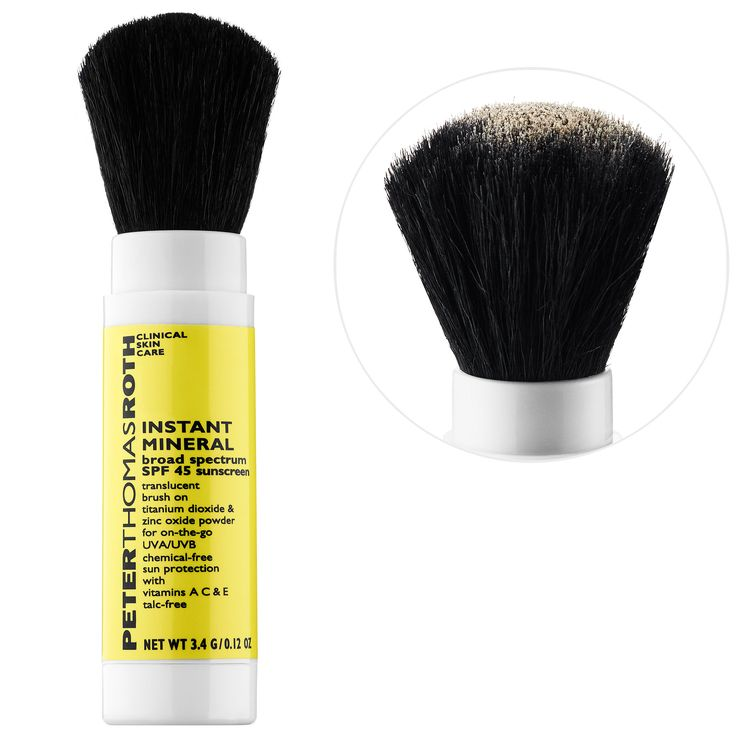 What it is:A talc-free, transparent matte, SPF 45 mineral powder in a convenient brush applicator.What it is formulated to do:It works immediately to block out the sun's harmful UVA/UVB infrared rays to help prevent sunburn, skin damage, freckling, a