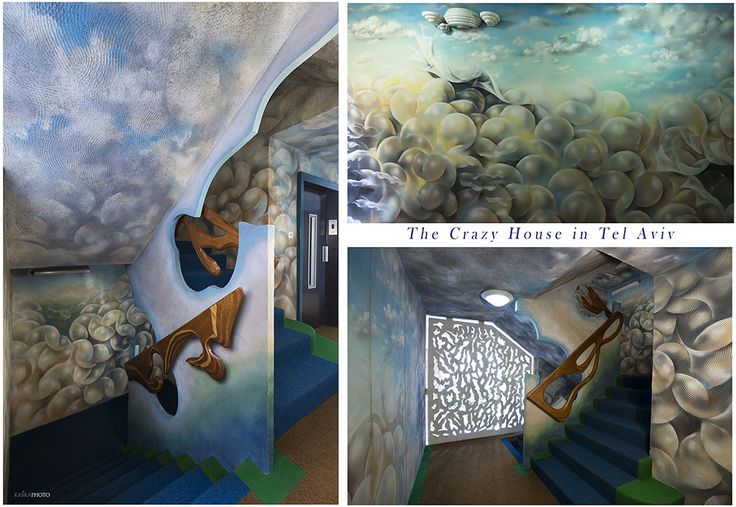 """The Crazy House"" in Tel Aviv, Israel at Hayarkon 181 Hand-painted walls of the lobby of the building and all floors by artist Shlomith Bollag. Hand Carving Stair Railings. photo by Kaśka Sikora #TelAviv #Israel #hayarkon #realestate #interior #painting #luxuryrealestate #luxuryhomes #luxurylife#designer #decoration #telaviv #sea #art #interiordesign #KaśkaSikora #gaudistyle#luxuryapartments"