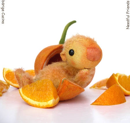 needful friends.....this little citrus-critter makes me giggle! tee.hee. (see, there i go again!)...