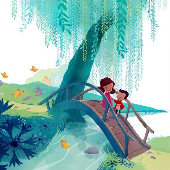 """Carine Hinder Artwork Illustration extraite de """"Joséphine et Thomas découvrent les trésors du baptême"""" (Éd. CRER)"""