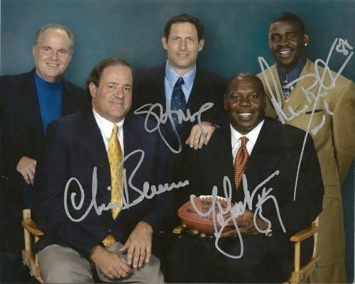 Michael Irvin, Steve Young, Chris Berman, Tom Jackson, Rush Limbaugh, Espn, Signed, Autographed, 8x10 Photo, Coa, Rare Hard Photo to Find