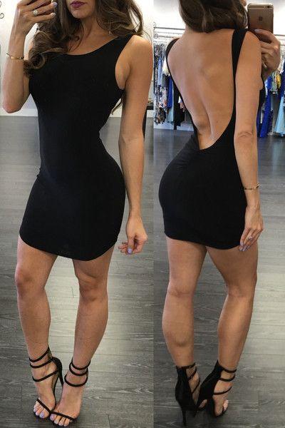 Pure Color Backless Sheath Bodycon Sleeveless Dress
