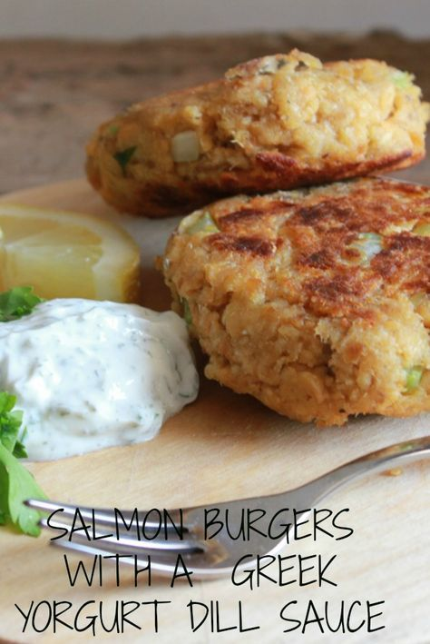 with canned salmon and served with a delicious Greek Yogurt dill sauce ...