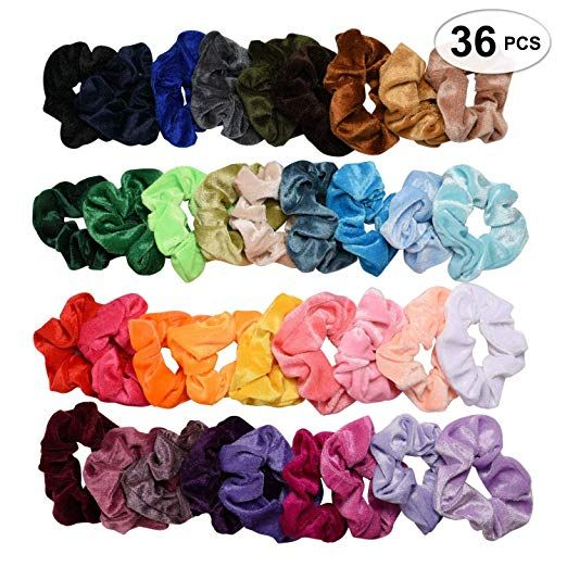 WoW 50 Pcs Hair Scrunchies Velvet Elastic Hair Bands Scrunchy Hair Ties Ropes