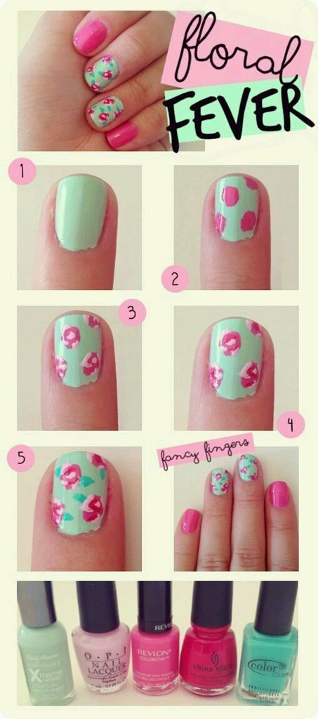 Floral Fever Nail Tutorial - Head over to Pampadour.com for more fun and cute nail art designs! Pampadour.com is a community of beauty bloggers, professionals, brands and beauty enthusiasts! #nails #nailpolish #polish #nailart #naildesign #cute #fun #pretty #howto #tutorial #beauty #manicure