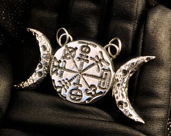 The Moon goddess' wheel of the year pendant, 925 sterling silver jewelry, triple moon, witch, wicca, sabbath, magick, amulet, lost wax