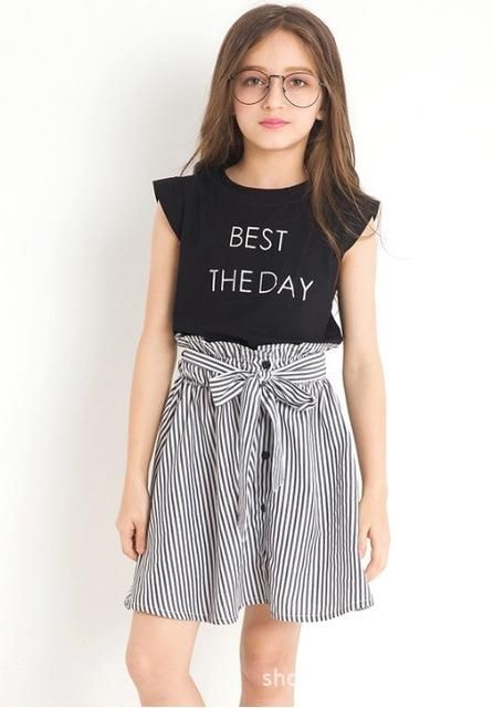 46522ae3d92 Black White Stripe Girl Clothing Summer Girl Set Two-piece Toddler Girl  Clothing Tops Skirts Size 6 7 8 9 10 11 12 14 years