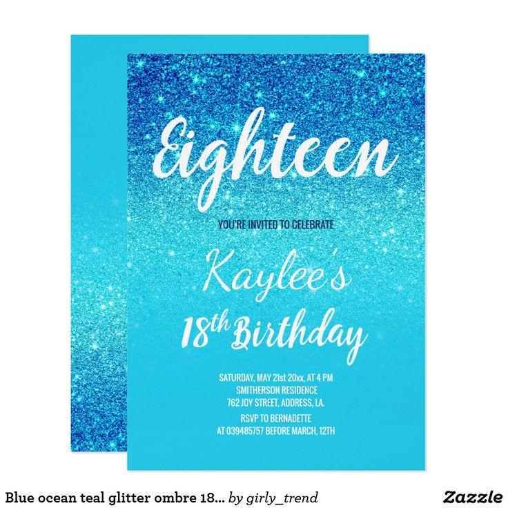 Blue ocean teal glitter ombre 18th Birthday Invitation
