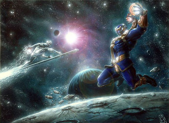 Silver Surfer vs Thanos by Andrea Mangiri