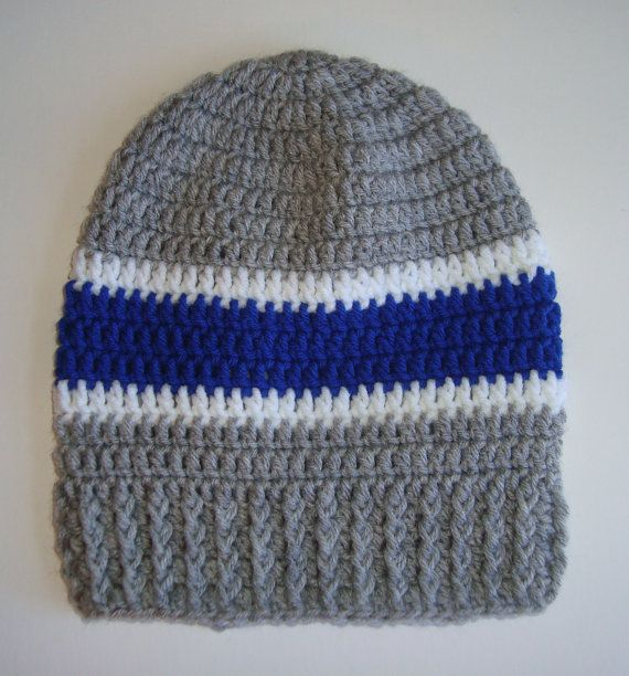 Dallas Cowboys Crochet Slouch Hat Beanie for Adult, Male or Female, Grey ,Blue & White,Football, NFL on Etsy, $18.00