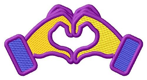 Heart Hands Emoji embroidery design