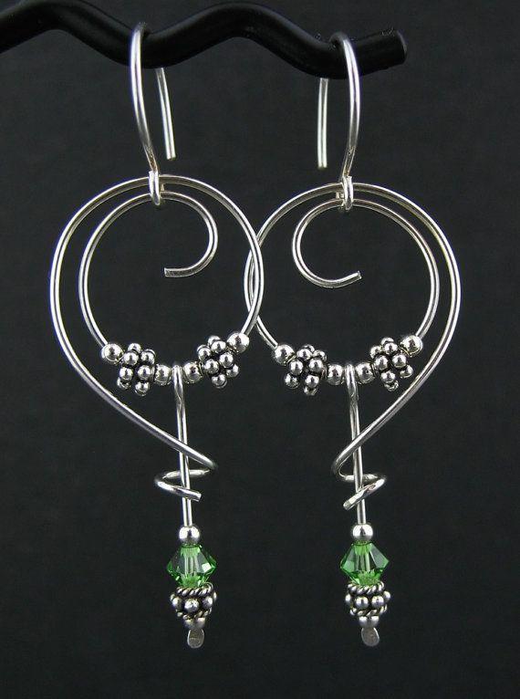 Artisan Free Form Silver Peridot Dangle Earrings, Free Form Jewelry, Green Swarovski Wire Earrings, Green Wire Jewelry, Wired Green Earring Handmade