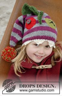 "Knitted DROPS monster hat with fins, eyes and teeth in ""Karisma"". ~ DROPS Design"