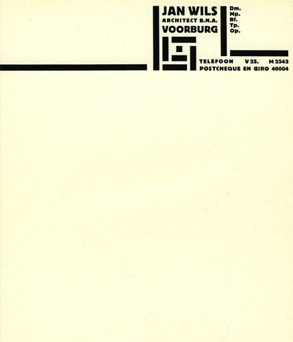 Letterhead designed by Piet Swart for Jan Wils, 1922