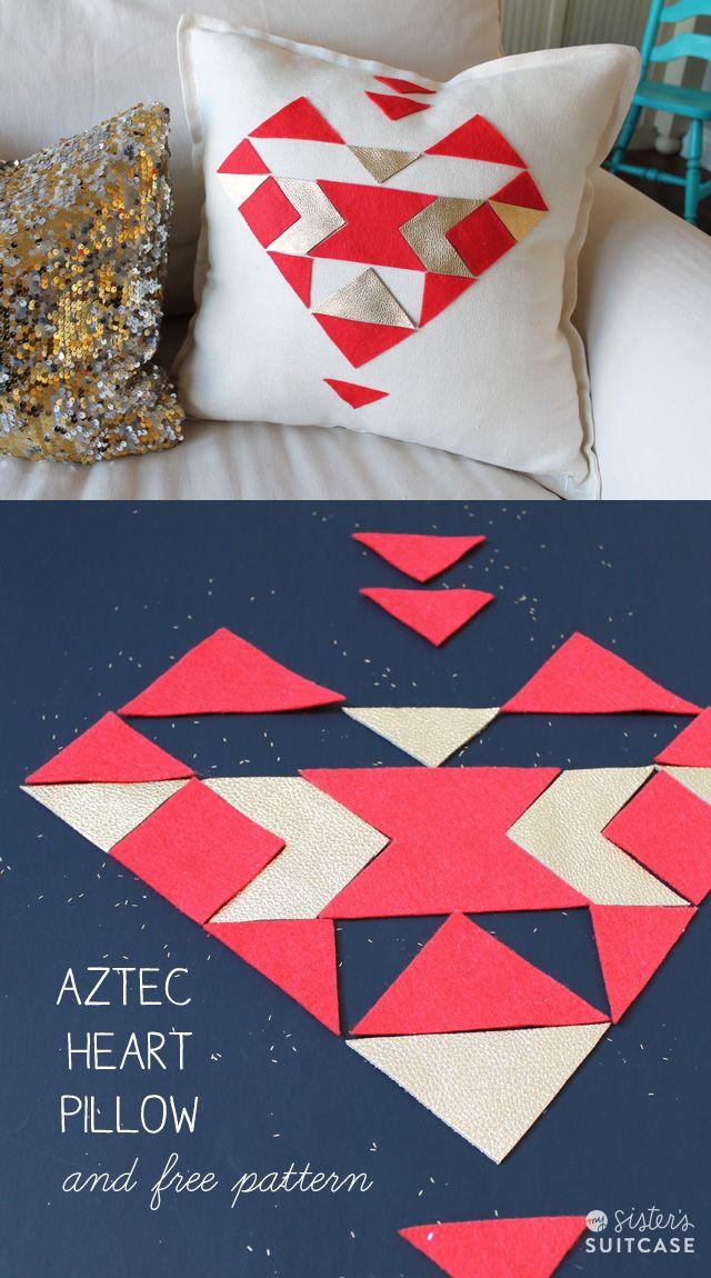 Aztec Heart Pillow + Free Pattern via sisterssuitcaseblog.com #aztec #decor #valentinesday
