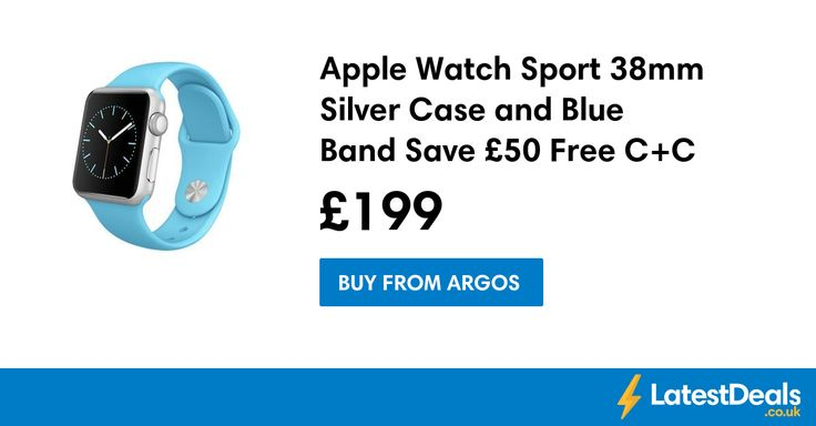 Apple Watch Sport 38mm Silver Case and Blue Band Save £50 Free C+C, £199 at Argos