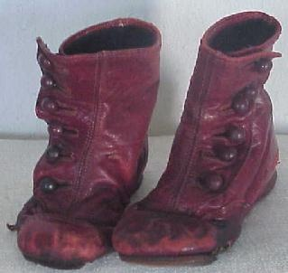 old button shoes in red