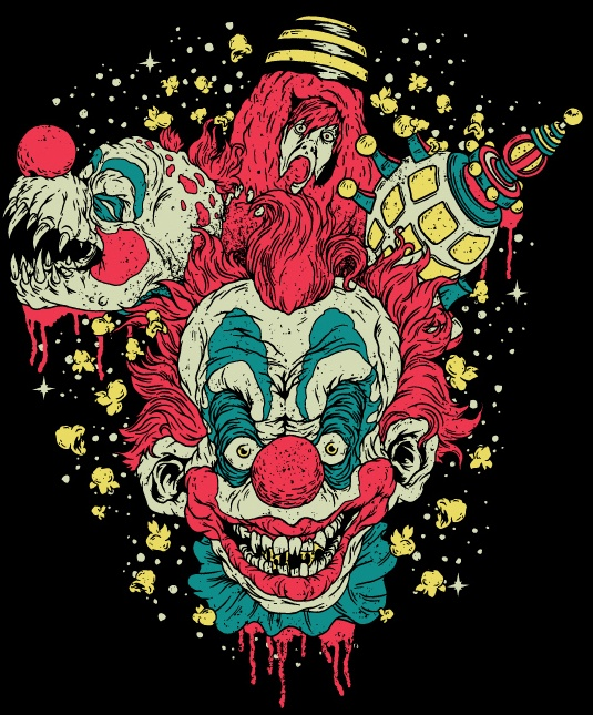 Killer klowns from outer space fan art screen print for Space clowns