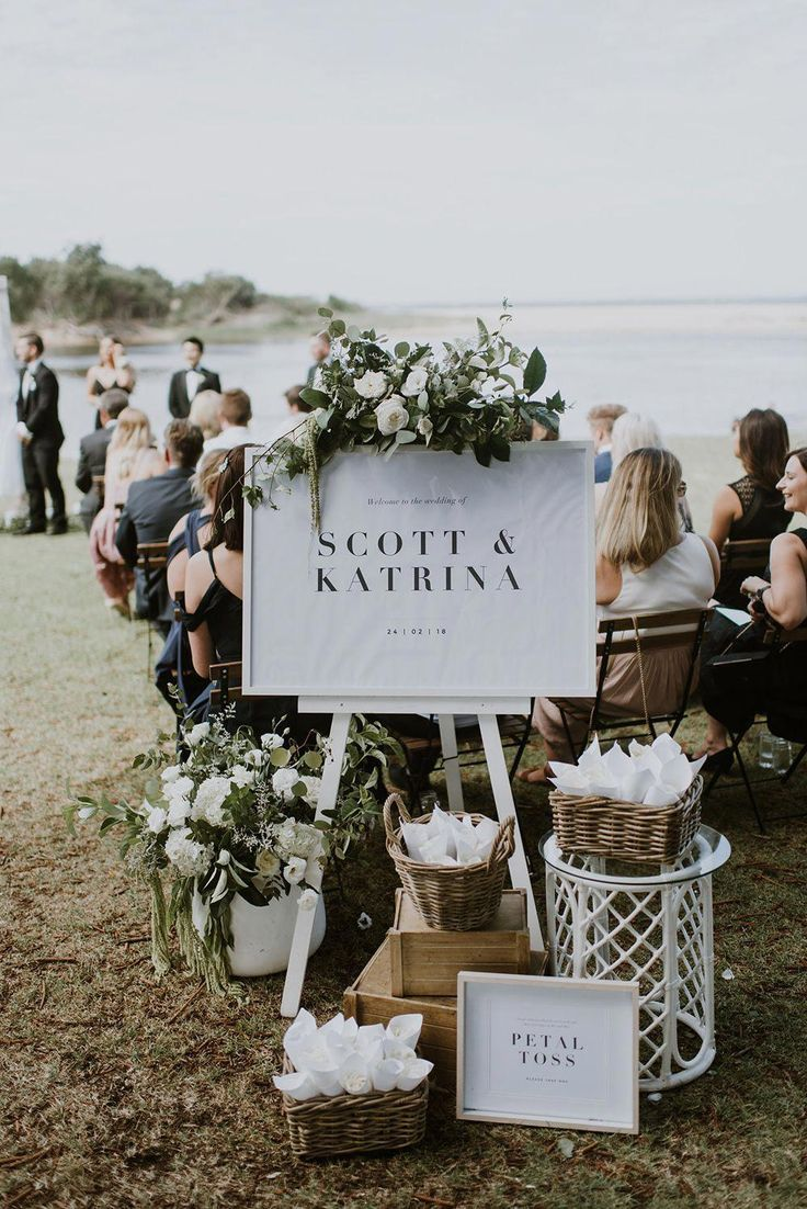 Modern Romantic Beach Wedding Ceremony Welcome Sign With