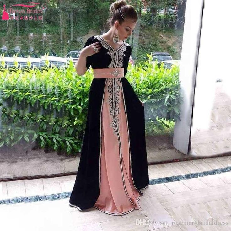 Middest East Arabic Prom Evening Dress Pink And Black Evening Dress Celebrate…