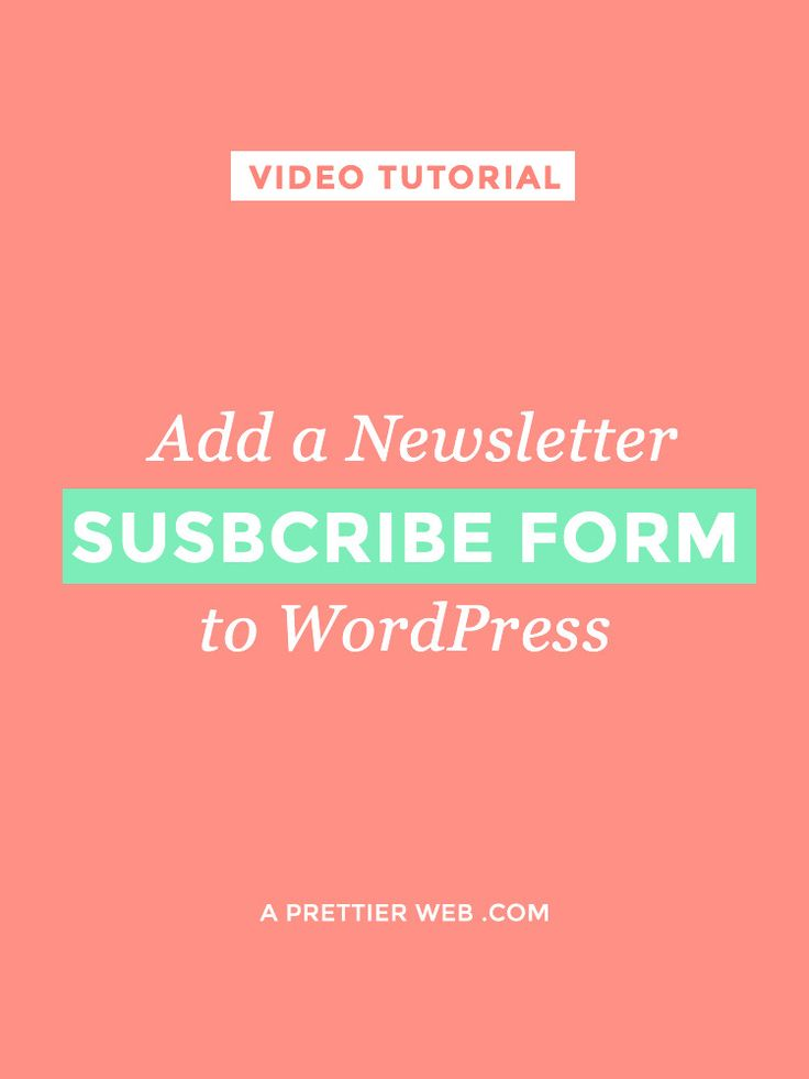 Newsletter Subscribe Form Wordpress