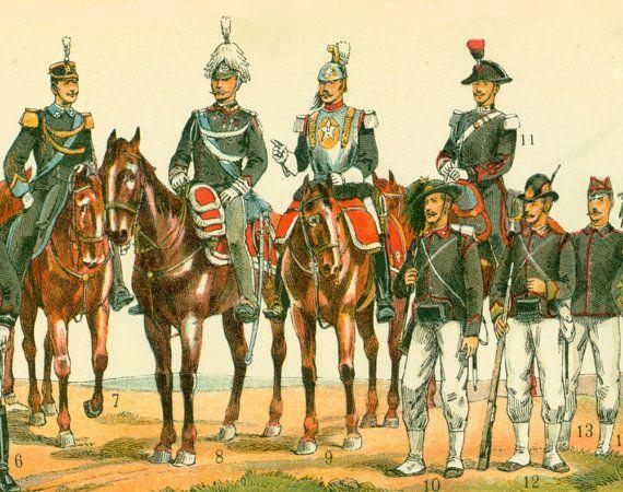 1897 bandera Italia ejército militar uniforme por sofrenchvintage