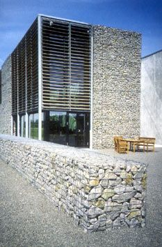 modern architecture with gabion walls - Google Search