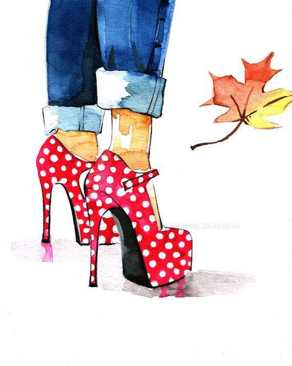Fall art printFashion IllustrationShoe by RongrongIllustration