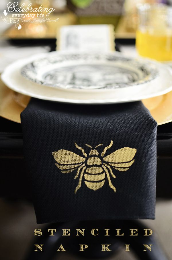 AS Chalk Paint on fabric - French Bee Trellis stenciled on black linen napkin with Bright Gold stencil creme.
