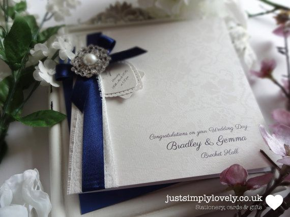 Stunning Wedding Card Or Invitation Vintage Lace Ivory & Navy