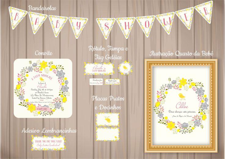 Bandeirola, Convite, Placas para os Pratos, Tampa/Rótulo/Tag Geléias - Tema Floral e Passarinho.
