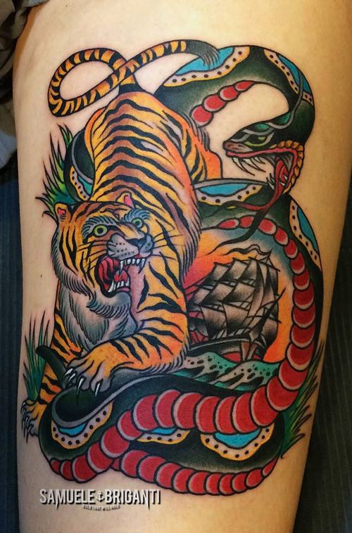 210 best images about samuele briganti on pinterest for American traditional tiger tattoo